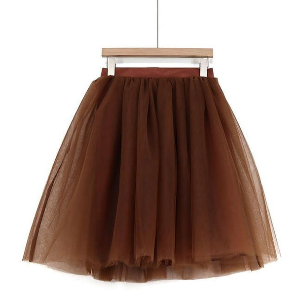 5XL Vintage Tulle Midi Pleated Skirts All Colors skirts Brown 5XL