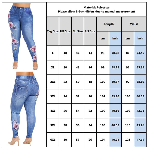 6XL Imitation Floral Denim Pants leggings