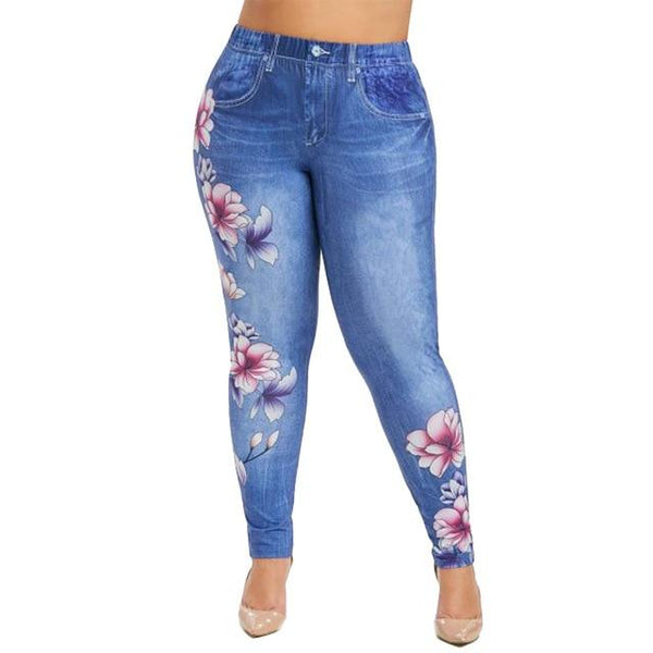 6XL Imitation Floral Denim Pants leggings Blue 6XL United States