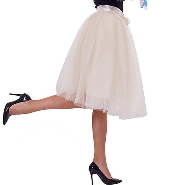 7 Layered 65cm Knee Length Tutu Tulle Skirt skirts beige One Size