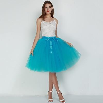 7 Layered 65cm Knee Length Tutu Tulle Skirt skirts blue One Size