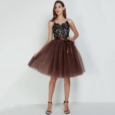 7 Layered 65cm Knee Length Tutu Tulle Skirt skirts coffee One Size