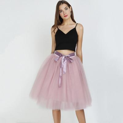 7 Layered 65cm Knee Length Tutu Tulle Skirt skirts Light Pink One Size