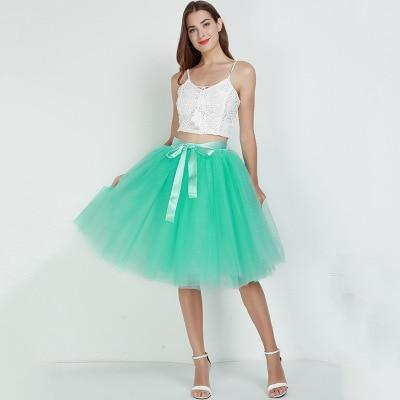 7 Layered 65cm Knee Length Tutu Tulle Skirt skirts mint green One Size