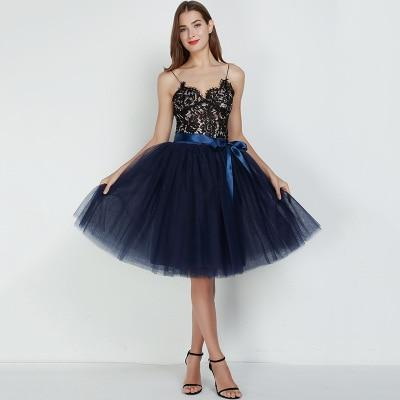 7 Layered 65cm Knee Length Tutu Tulle Skirt skirts navy blue One Size