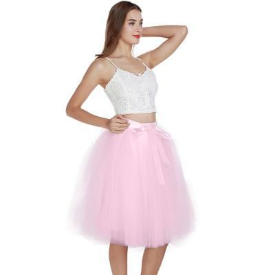 7 Layered 65cm Knee Length Tutu Tulle Skirt skirts pink One Size