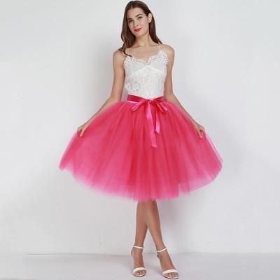 7 Layered 65cm Knee Length Tutu Tulle Skirt skirts rose One Size