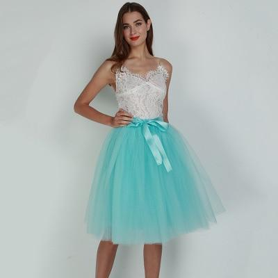 7 Layered 65cm Knee Length Tutu Tulle Skirt skirts sky blue One Size