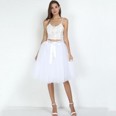 7 Layered 65cm Knee Length Tutu Tulle Skirt skirts white One Size