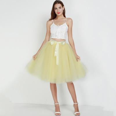 7 Layered 65cm Knee Length Tutu Tulle Skirt skirts yellow One Size