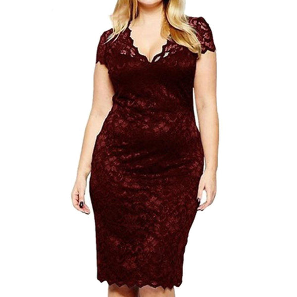 Above Knee V-Neck Sexy Lace Dress dress