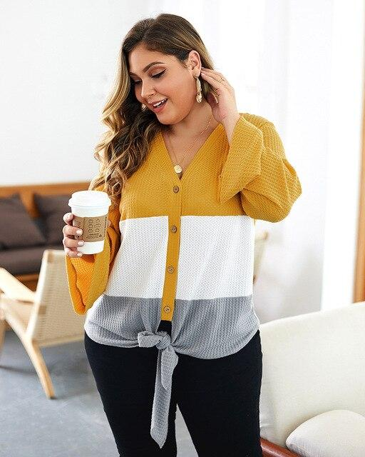 Autumn V-neck Loose Button Sweater Sweaters 5XL-90-100KG Yellow
