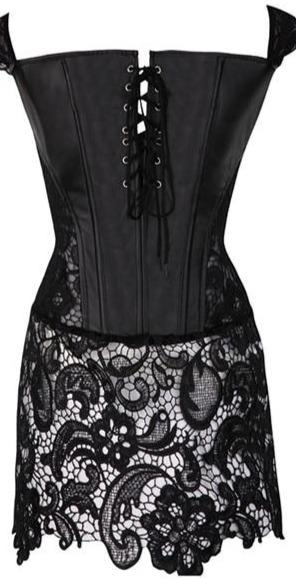 Back Zipper Gothic Lace Up Punk Faux Leather Corset corsets Black M