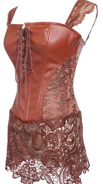 Back Zipper Gothic Lace Up Punk Faux Leather Corset corsets Brown XXL
