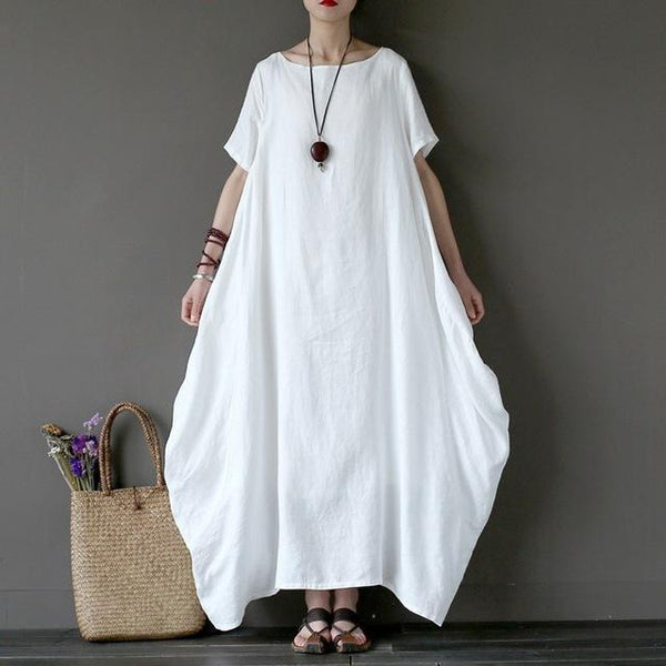 Baggy Maxi Long Shirt Dress in Solid Colors