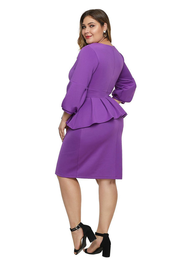 Bell Sleeve Plus Size Peplum Dress dress