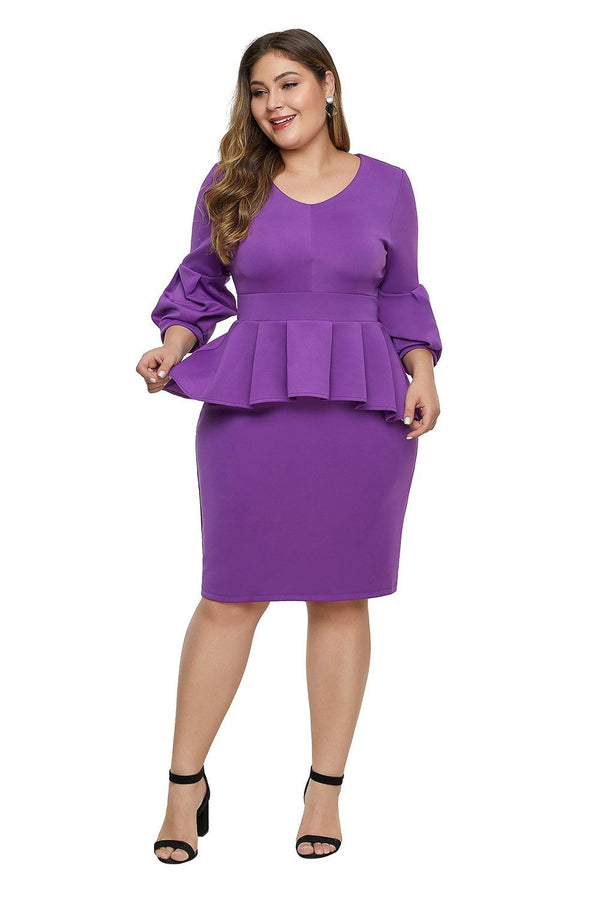 Bell Sleeve Plus Size Peplum Dress dress Purple 1X
