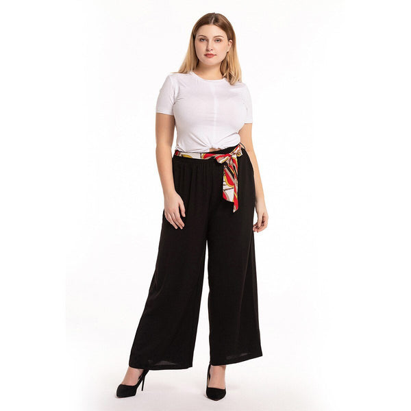 Belted High Waist Casual Pants pants