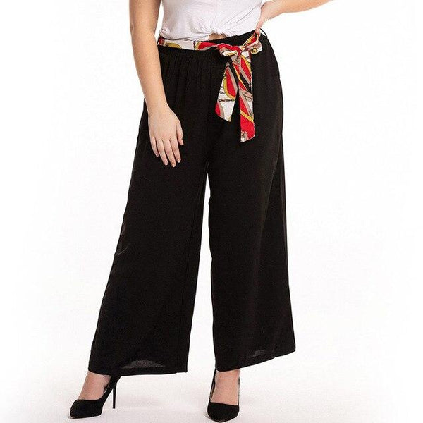 Belted High Waist Casual Pants pants Black XXXL