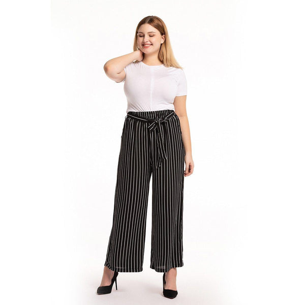 Belted High Waist Loose Wide Leg Pants pants