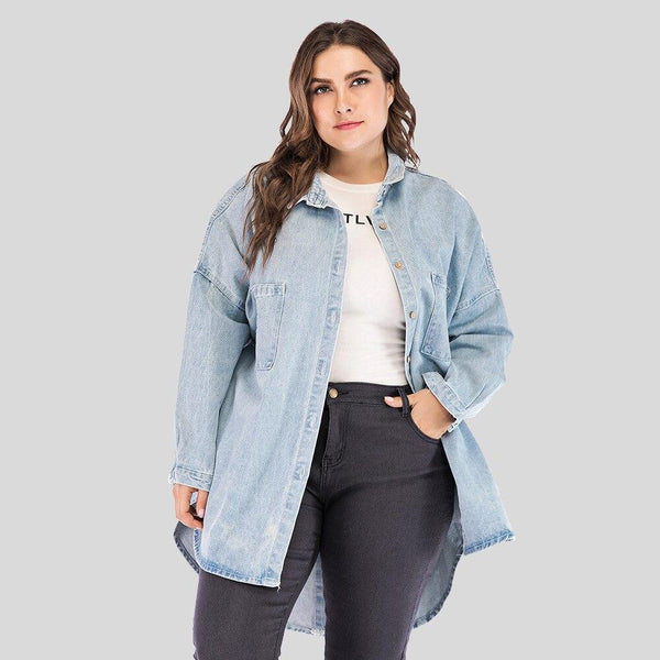 Blue Casual Long Jeans Coat Coats & Jackets