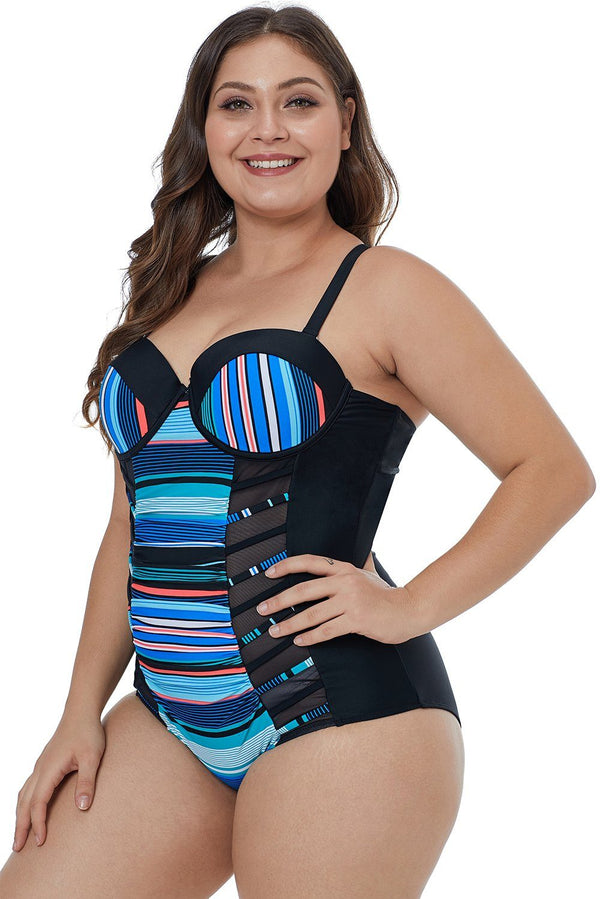 Blue Striped Block Patchwork Crisscross Plus Maillot Swimwear