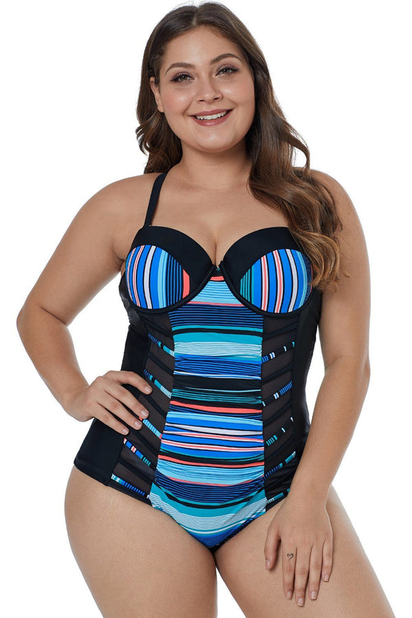 Blue Striped Block Patchwork Crisscross Plus Maillot Swimwear Blue 0X
