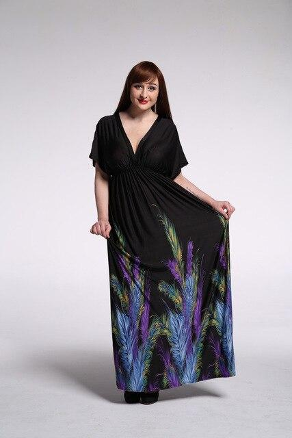 Bohemian Print Beach Long Dress dress Black 4XL