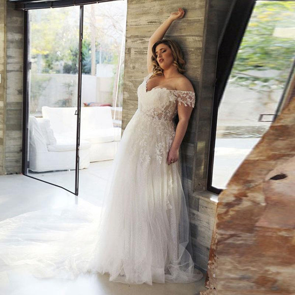Boho Plus Size Wedding Dress V-Neck Appliques Lace Off the Shoulder wedding dress