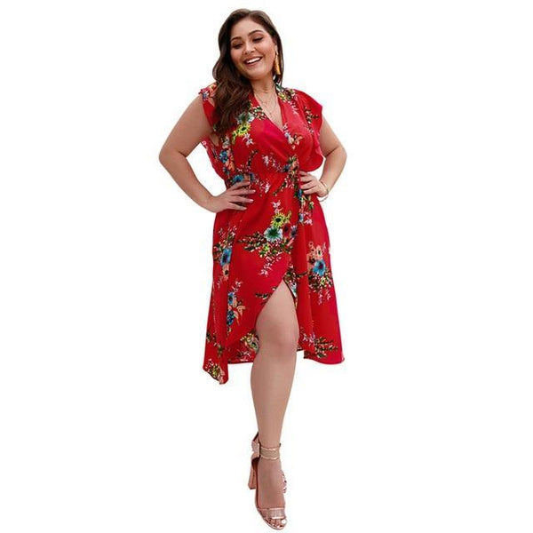 Boho V Neck Ruffles Short Sleeve Floral Print Beach Dress dress Red XXL