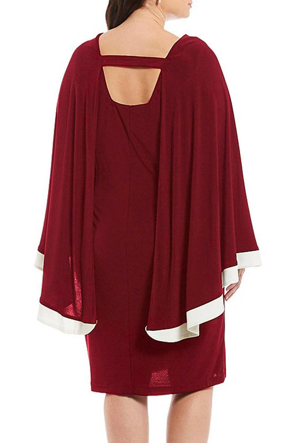 Burgundy Contrast Trim Capelet Plus Size Poncho Dress dress