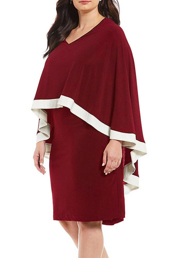 Burgundy Contrast Trim Capelet Plus Size Poncho Dress dress Red 1X