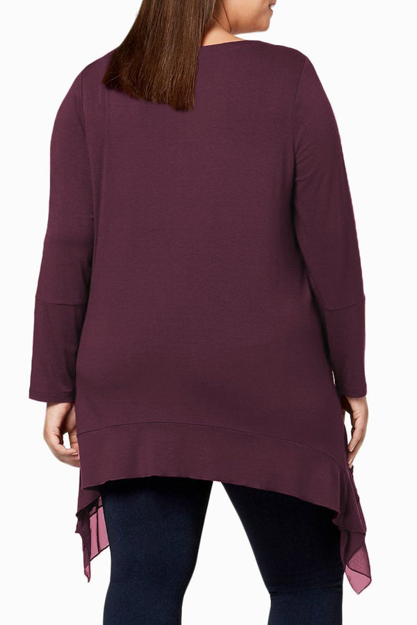 Burgundy Sheer Ruffled Splice Plus Size Top Plus Size Tops