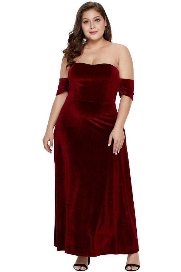 Burgundy Sweetheart Bandeau Off Shoulder Plus Velvet Gown dress