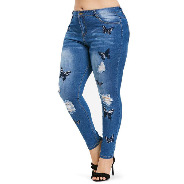 Butterfly Distressed Embroidered Jeans