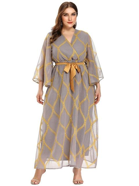 Butterfly Sleeve Fashion Elegant Dress dress Gray Gold XXL