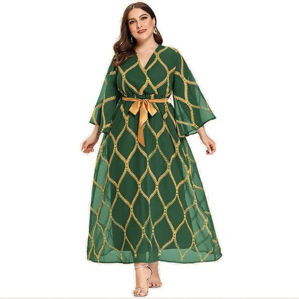 Butterfly Sleeve Fashion Elegant Dress dress Jade Green XL