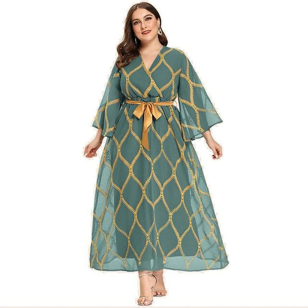 Butterfly Sleeve Fashion Elegant Dress dress Light Green XL