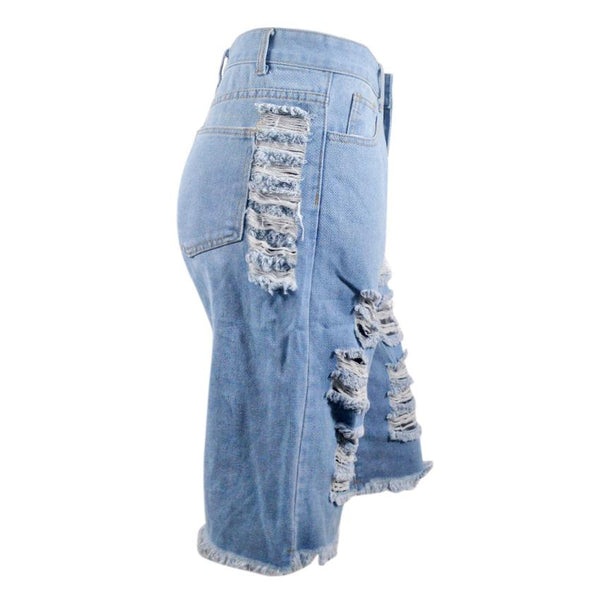 Button Ripped Zipper Summer Jeans jeans