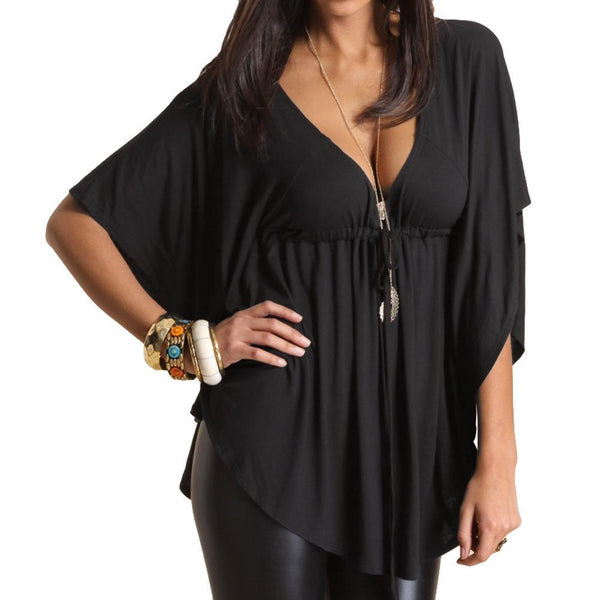 Casual Blouse Sexy V-Neck Batwing Sleeve