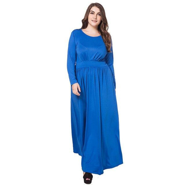Casual Dress High Waist Slim Long Party Dress dress Blue XL