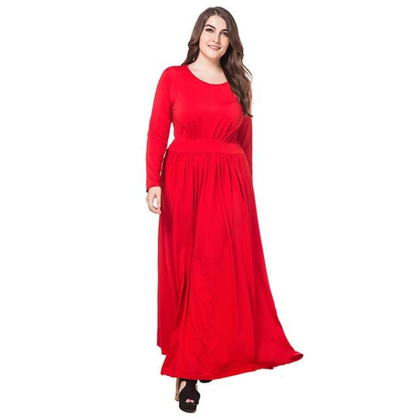Casual Dress High Waist Slim Long Party Dress dress Red XL