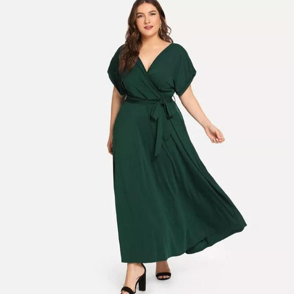 Casual Dress Summer V Neck Short Sleeve Dress dress green XXL