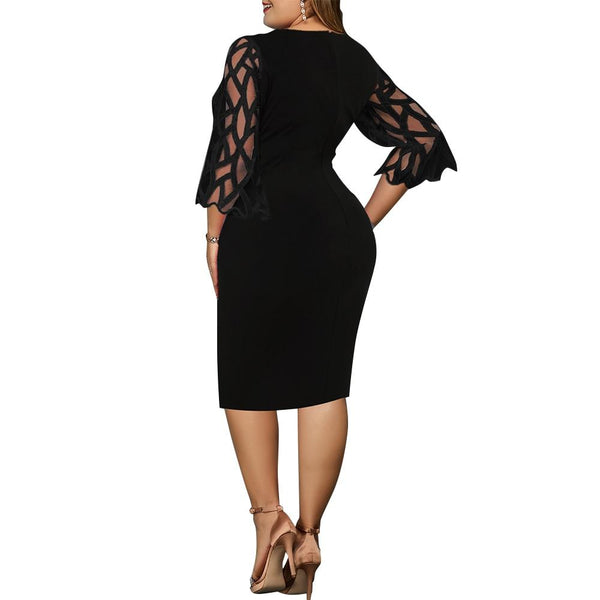 Casual Lace 3/4 Sleeve Openwork Elegant Dress dress