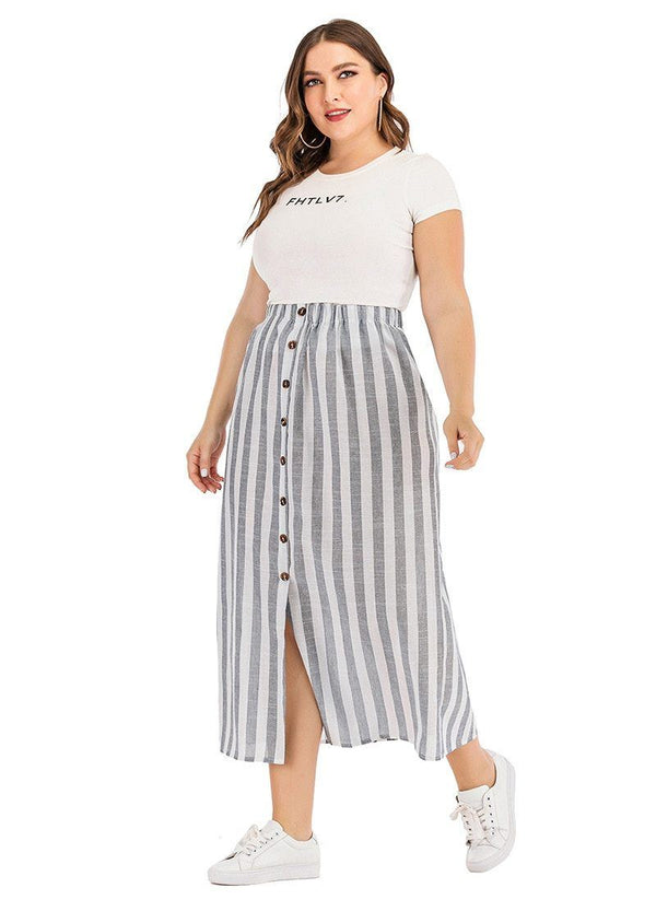 Casual Loose Button Stripe Skirt Skirt