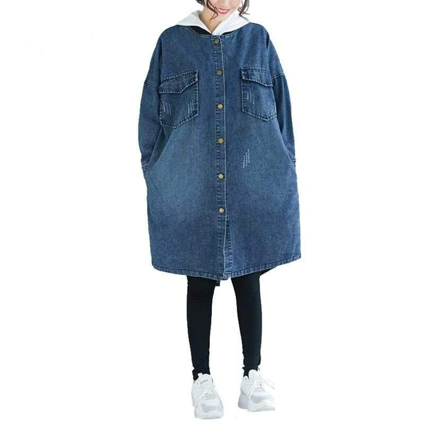 Casual Plus Size Denim Jacket Trench Coat jackets