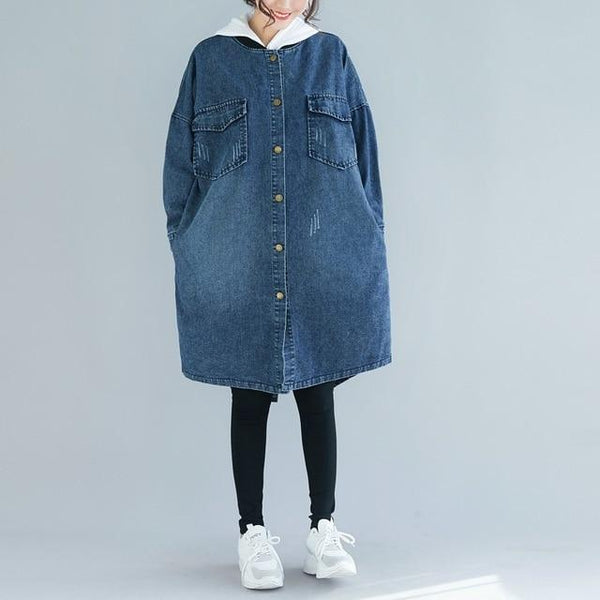 Casual Plus Size Denim Jacket Trench Coat jackets Blue One Size (for L-6XL)