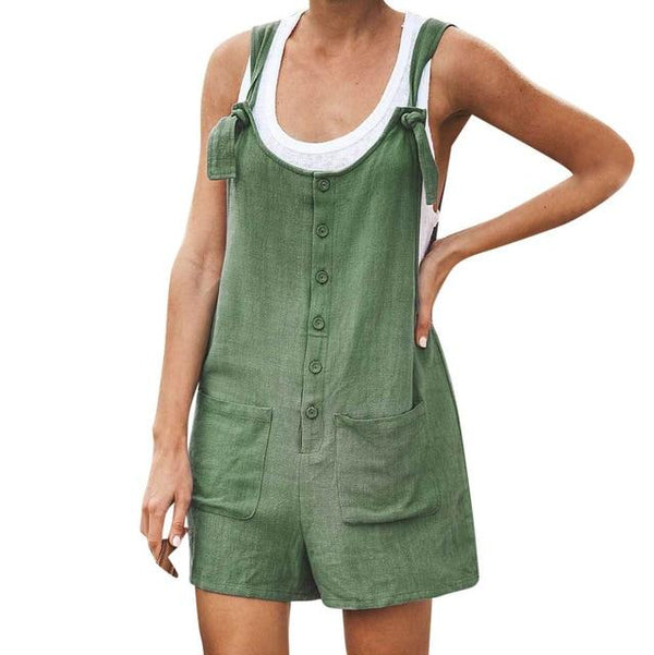 Casual Streetwear Sleeveless Romper rompers 4XL Army Green