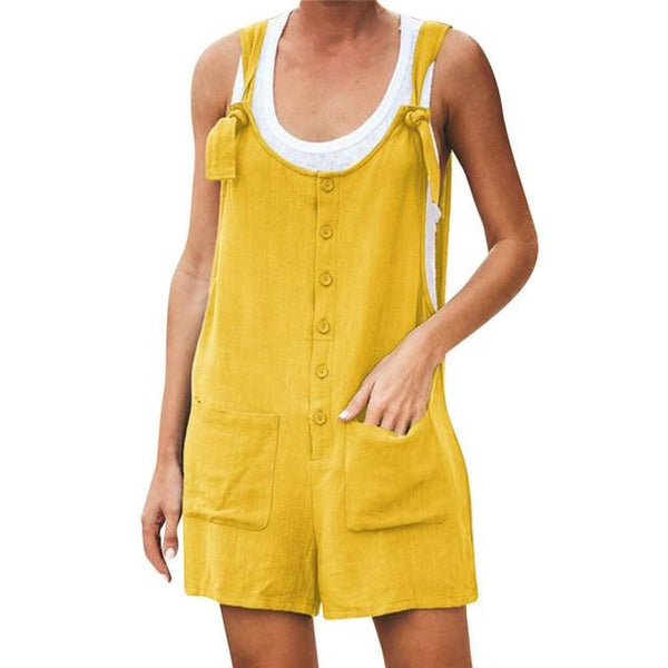 Casual Streetwear Sleeveless Romper rompers 5XL Yellow