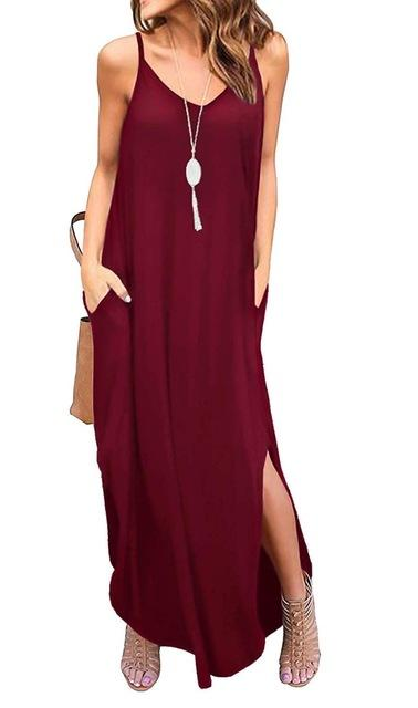 Casual Summer Loose Beach Dress dress Burgundy S